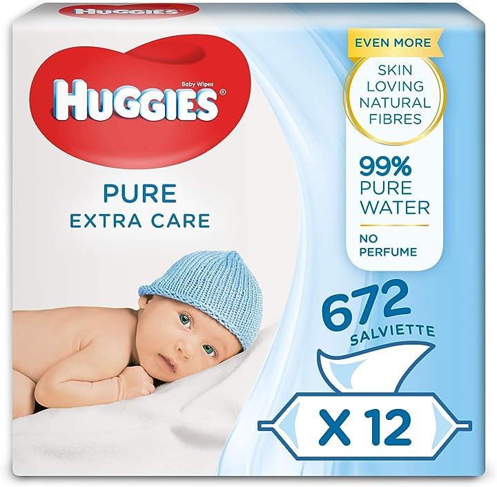 Salviette umidificate per bambini, confezione da 12 da 56 pezzi huggies pure extra care 2437302