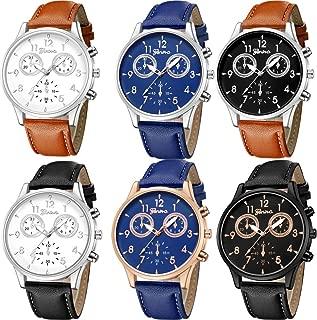 Yunanwa 6 Pack Men's Leather Quartz Watch Geneva Boys Casual Dress Wrist Band Watches Wholesale Lots Set