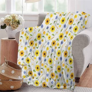 Luoiaax Yellow and White Commercial Grade Printed Blanket Botanical Arrangement of Summer Flowers Wheat Daisy Blossoming Nature Queen King W80 x L60 Inch Multicolor