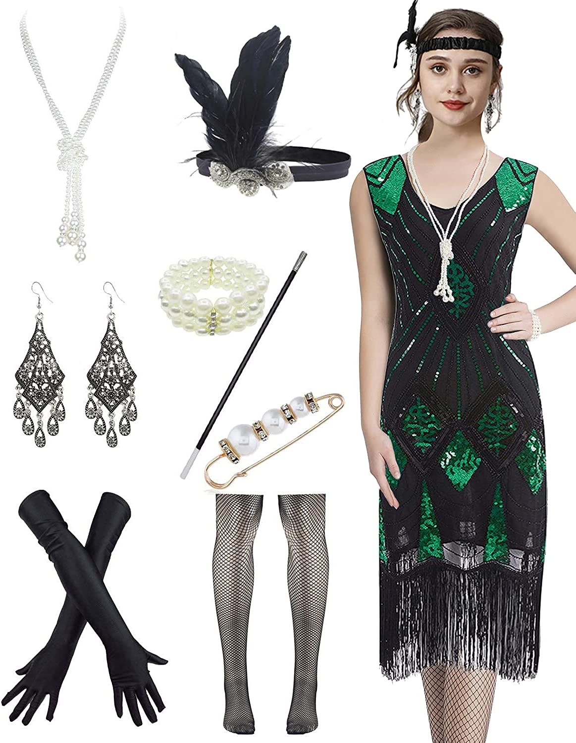 Flapper Dress Floral Embroidery Sequin Fringed Cocktail 1920s Dress w/Accessories (S, Green)