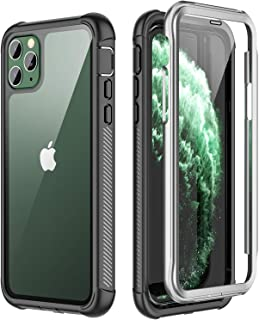 SPIDERCASE for iPhone 11 Pro Max Case, Built-in Screen Protector Full Heavy Duty Protection Shockproof Anti-Scratched Rugged Case for iPhone 11 Pro Max 6.5 inch 2019 (Black+Clear)