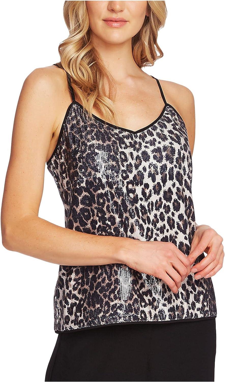 Vince Camuto Women's Elegant Leopard Sequin Cami