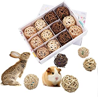 LEFTSTARER 12 Pcs Guinea Pig Treats,Teeth Cleaning and Chew Toys for Small Pet Animals Play Ball Rolling Bell Ball Toys Ch...