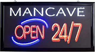 American Art Decor Man Cave Open 24/7 Framed Flashing Marquee LED Signs