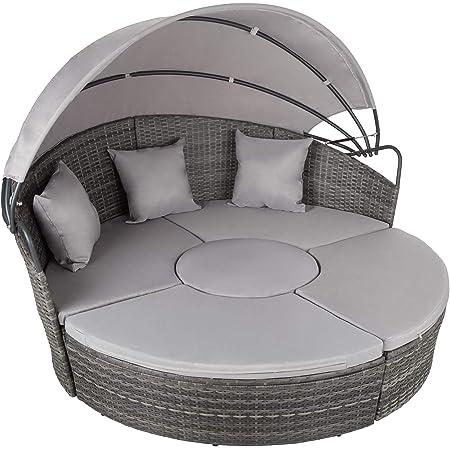 tectake 800764 Canapé de Jardin Chaise Longue Bain de Soleil en Aluminium et résine tressée avec Toit dépliable, Largeur: env. 180 cm - diverses Couleurs - (Gris)