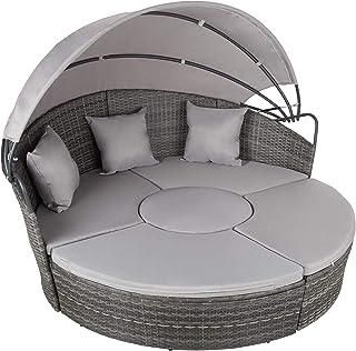 tectake 800764 Canapé de Jardin Chaise Longue Bain de Soleil en Aluminium et résine tressée avec Toit dépliable, Largeur: ...