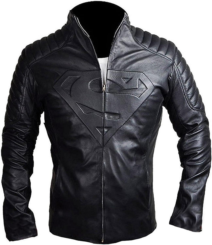 UGFashions Super Men's S Logo Embossed Hero Clark Quilted Motorcycle Biker Costume Black Leather Jacket
