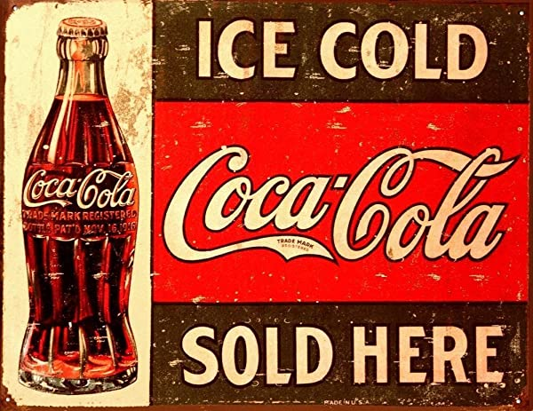 Tin Metal Sign Coke C 1916 Ice Cold Retro Vintage Bar Signs Tin Sign Vintage 12 X 8 Inch