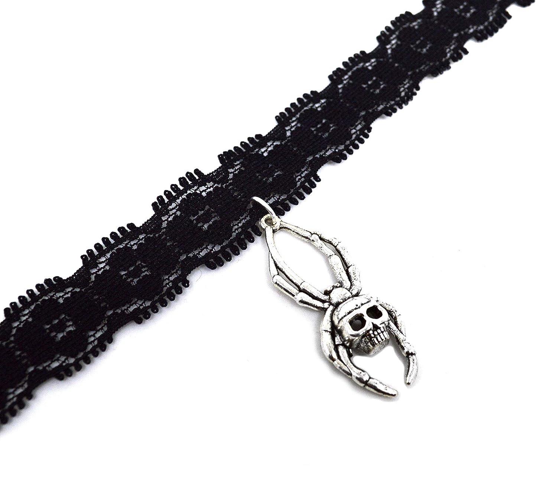 Black Lace Spider Skull Max 88% OFF Halloween Max 69% OFF Choker- goth grunge char metal