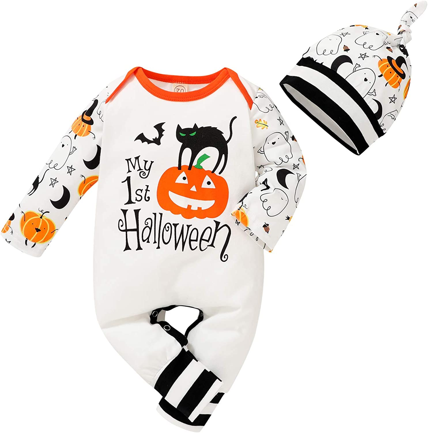 Infant Baby Girls Boys Halloween Outfits My First Halloween Pumpkin Bodysuit with Hat Clothes Set