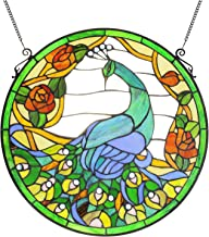 VINLUZ Tiffany Style 20 Inch Peacock Art Stained Glass Window Panel with Hanging Chain
