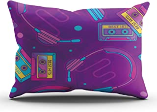 KELEMO Pillowcase Retro Pop Eighties Radio Throw Pillow Covers Decoration for Sofa Bed King 20X36 Inches Single Side Pattern (Set of 1)