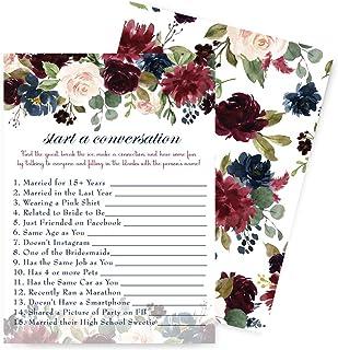 Indigo Floral Bridal Shower Games Find the Guest - 25 Card Pack