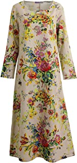 Vintage Women Maxi Floral Dress Long Sleeves Pockets O Neck Plus Size Cotton Linen Loose Robe Dress