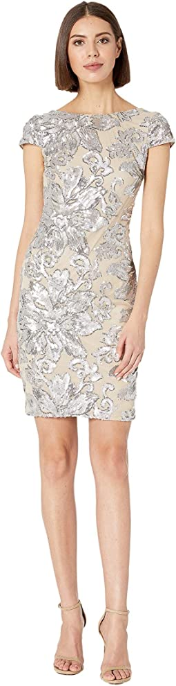 Sequin Cap Sleeve Sheath Dress