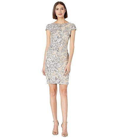 Calvin Klein Sequin Cap Sleeve Sheath Dress (Silver/Khaki) Women