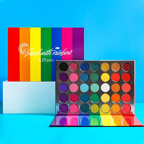 Palette Maquillage Yeux Couleur Professionnel,Afflano Eyeshadow Palette Travel With Rainbow, Paillette Mat Brillant C...