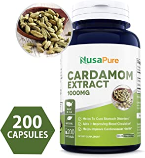 Cardamom Extract 1000mg 200 Capsules (Non-GMO & Gluten Free) Helps Reduce Blood Pressure & Lower Blood Sugar Levels - Help with Digestive Problems