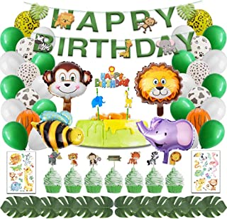 Jungle Safari Theme Party Decorations 80 PCS, Safari Party Supplies Animal Happy Birthday Favors, Banner Cake Toppers Balloons Stickers Tattoos Palm Leaves Tools for Boys Grils Kids