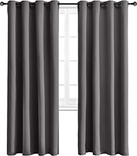 WONTEX Blackout Curtains Thermal Insulated Grommet Curtains Bedroom, 52 x 84 inch, Grey, 2 Panels