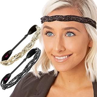 Women's Adjustable Cute Fashion Bling Glitter Headband Braid Hairband Gift Pack