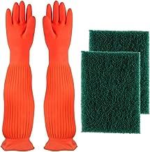 AroPaw Aquarium Cleaning Tools Set Includes Waterproof BPA Free Gloves, 2 Pack Algae Scraper Sponge Scrubber Pad, Aquarium Cleaner Fish Tank Cleaner
