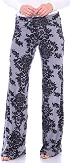 Womens Comfy Chic Wide Leg Boho Print Palazzo Pants Plus Size Made in USA