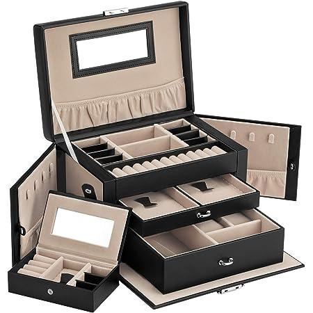 SONGMICS ジュエリーボックス ネックレス収納 宝石箱 上品アクセサリーケース ジュエリー収納 3段 大容量 旅行用ミニジュエリーケース内蔵 ネックレス収納 小物入れ ギフトブラック JBC121
