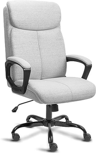 BASETBL Bürostuhl Schreibtischstuhl Ergonomisch Stoff Chefsessel mit gepolsterter Armlehne und weiche Kopfstütze, Rückenlehne, drehbar und…