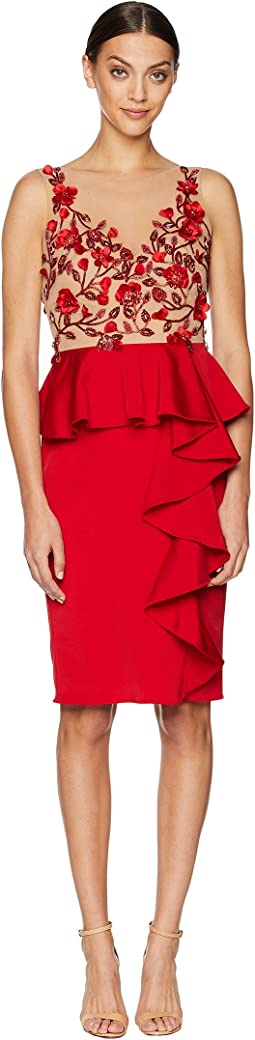 Marchesa Notte Sleeveless Embroidered Stretch Faille Cocktail w/ 3D Beading and Ruffles