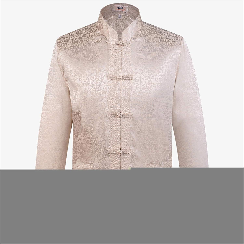 Designer Chinese Traditional Men's Satin Mandarin Collar Dragon Silk Tang Suit Clothing Kung Fu Jacket Coat (Color : B Beige, Size : L 170)