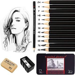 Drawing Sketch Pencil Set, Surcotto 12 PCS Professional Sketching Pencils Artist Graphite Pencils for Artist,Beginner,Stud...