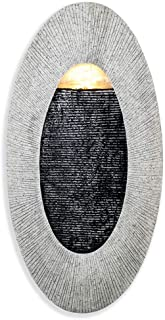 Make Lemonade Indoor/Outdoor Waterfall Hanging Fountain, Handcrafted Natural Faux Stone Exterior with LED Lights, Patio and Home Wall Décor, Oval, Tan