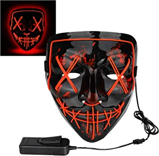 Halloween Mask LED Light up Mask for Festival Cosplay Halloween Costume Masquerade Parties,Carnival,Gifts,