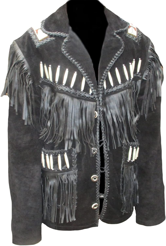Coolhides Men's Western Cowboy Leather Jacket Fringed & boned