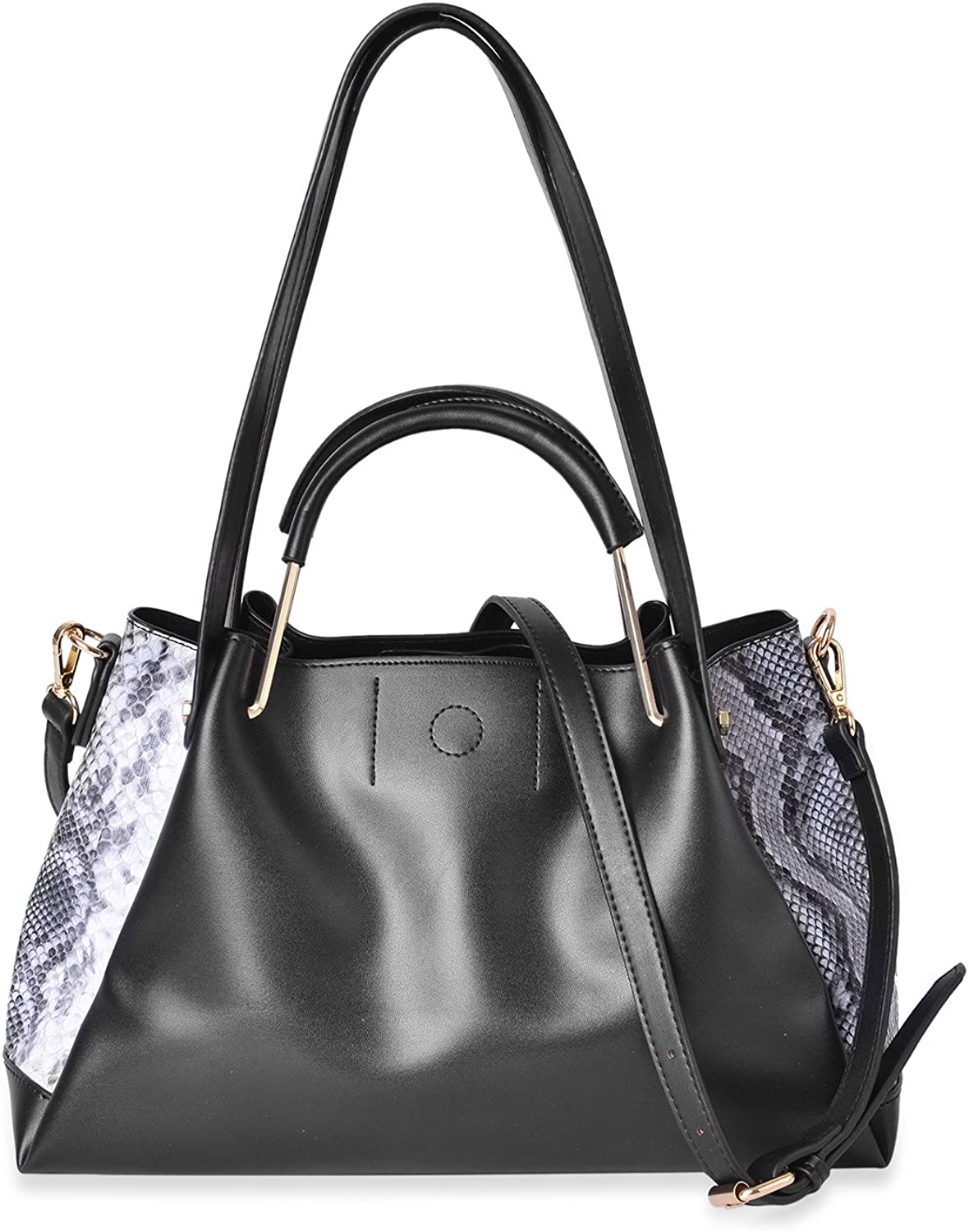 Black with Black & White Snake Skin Pattern Faux Leather Tote Bag 14.2x6x8.4