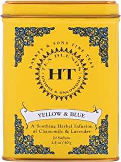 Harney & Sons Master Yellow & Blue Tea Tin - Herbal Blend of Chamomile, Lavender, and Cornflowers - 0.9 Ounces, 20 Sachets...