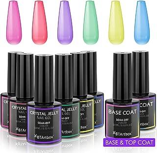 Gel Nail Polish Set - Jelly Gel Nail Polish Kit with Base Coat Top Coat BTArtbox Soak Off UV LED Nail Gel Kit for DIY Nail Art at Home(6 Colors, 0.33 fl oz)