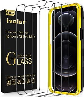 """ivoler [4-pack] Skärmskydd Kompatibel med iPhone 12 Pro Max (6,7""""), Härdat Glas Screen protector med inriktningsram, bubbe..."""