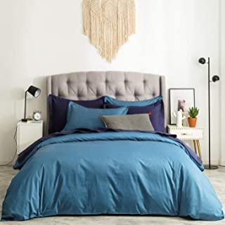 SUSYBAO 3 Pieces Duvet Cover Set 100% Natural Cotton Queen Size 1 Duvet Cover 2 Pillow Shams Solid Teal Luxury Quality Ultra Soft Breathable Lightweight Durable Easy Care Bedding with Zipper Ties
