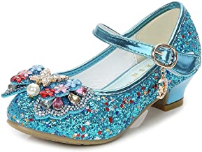 YING LAN Girls Cosplay Dress Wedding Party Shoes Glitter Sequins Low Heel Mary Jane Princess Shoes