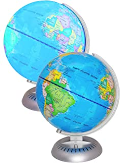 "Illuminated World Globe Lights by KinderBerries – 8"" Globe of The World with Stand Night Lights for Kids - Built-in LED Light Earth Globe with Easy to Read Labels for Continents, Countries, Capitals"