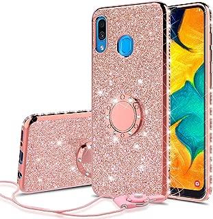 جراب Samsung Galaxy A30 / A20، جراب بمسند حلقي لامع لطيف للفتيات جراب بتصميم ماسي لامع لجرابات الهاتف Samsung Galaxy A20/A30/A205U -