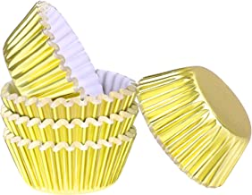 Aodaer 100 Pieces Mini Foil Metallic Cupcake Liners Baking Cups Muffin Cups Muffin Paper Cases for Baking, Gold, 1.26 x 0....
