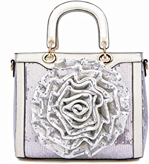 Trendy Lady Wild Sequins Tote Embroidered Flower Tote Bag Fashion Retro Shoulder Bag Zgywmz (Color : White, Size : 27 * 11 * 22cm)