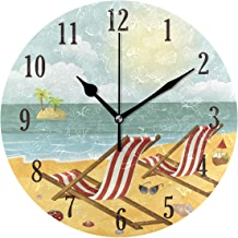 senya Wall Clock, Battery Operated Round Beach View Silent Clock, Home Decor Wall Clock for Living Room, Kitchen, Bedroom