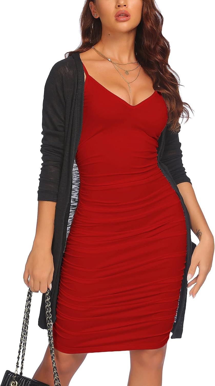 ELESOL Women's Ruched Bodycon Dress Sexy V Neck Cami Dress Club Party Midi Dress S-XXXL