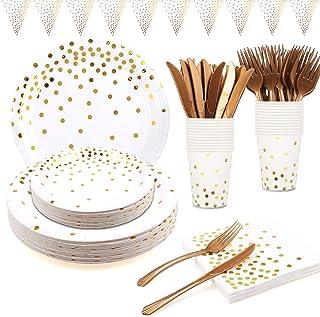 Assiette Blanche Or 145 PCs Assiette Carton Blanc Serviettes Gobelet Fourchettes Couteaux Réutilisables Bannière Douche Nu...
