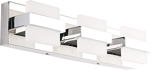 SOLFART Dimmable LED Modern Bathroom Vanity Lights Over Mirror 3 Lights Acrylic Stainless Steel Bath Wall Lighting