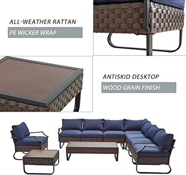 Festival Depot 10 Pcs Patio Conversation Sets Outdoor Furniture Sectional Corner Sofa with All-Weather PE Rattan Wicker Chair